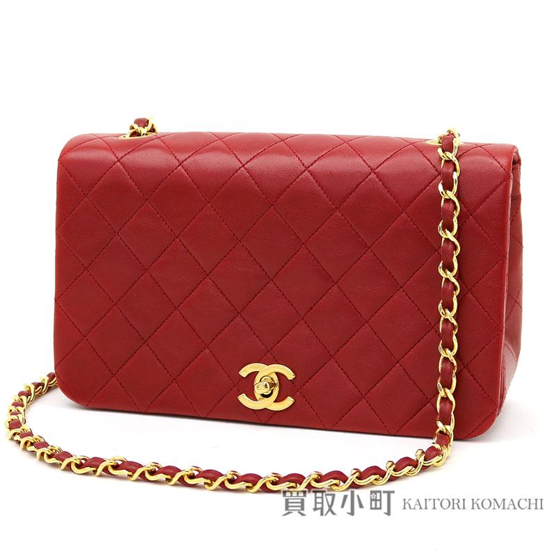 0caeb004512c00 KAITORIKOMACHI: Take Chanel matelasse chain shoulder bag red lambskin  classical music oar flap slant; CC mark twist lock flap bag chain bag quilting  vintage ...