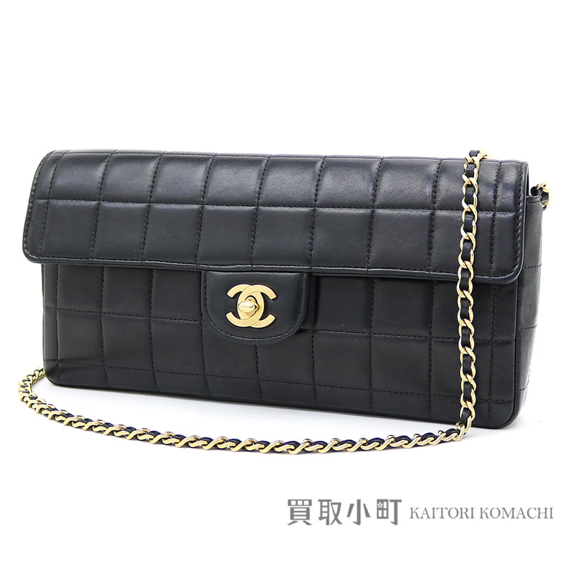 Chanel chocolate bar quilting chain shoulder bag black gold metal fittings lambskin flap bag chain bag handbag clutch bag black A15316 #06 CLASSIC FLAP BAG