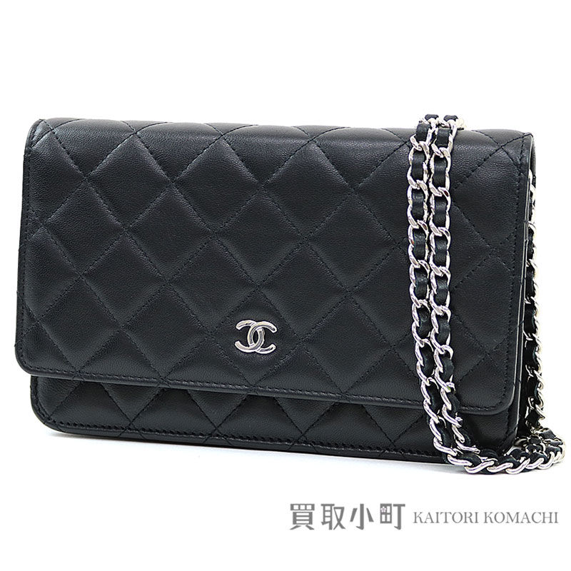 77557bac6e52 Take Chanel matelasse chain wallet black lambskin silver metal fittings  classical music quilting chain shoulder bag ...