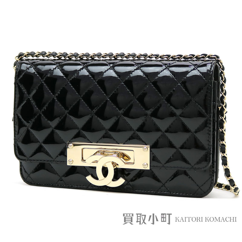 6642cbd9a885 Take Chanel here mark chain wallet quilting black patent leather chain  shoulder bag pochette clutch wallet ...