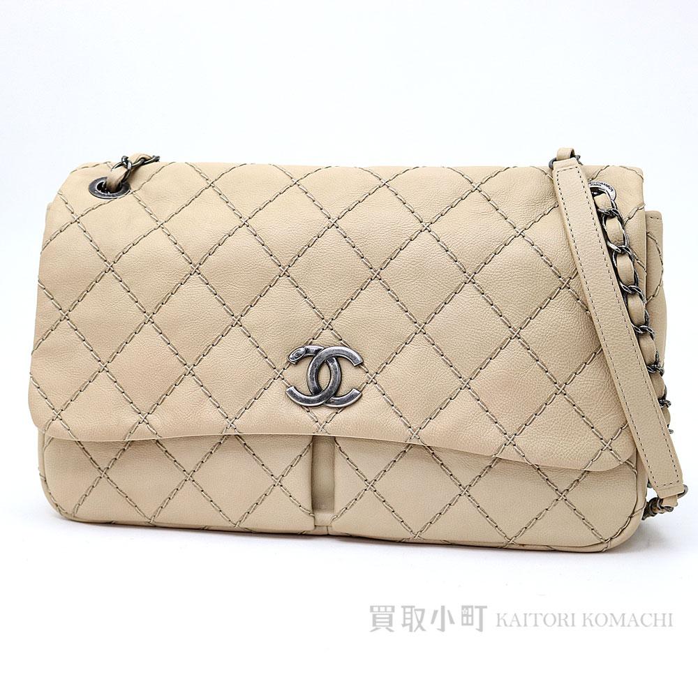 Chanel W chain shoulder bag beige calfskin matelasse line quilting flap bag  chain bag CC mark vintage-like metal fittings classical music  17 FLAP  CHAIN BAG 707ba7182d3f7