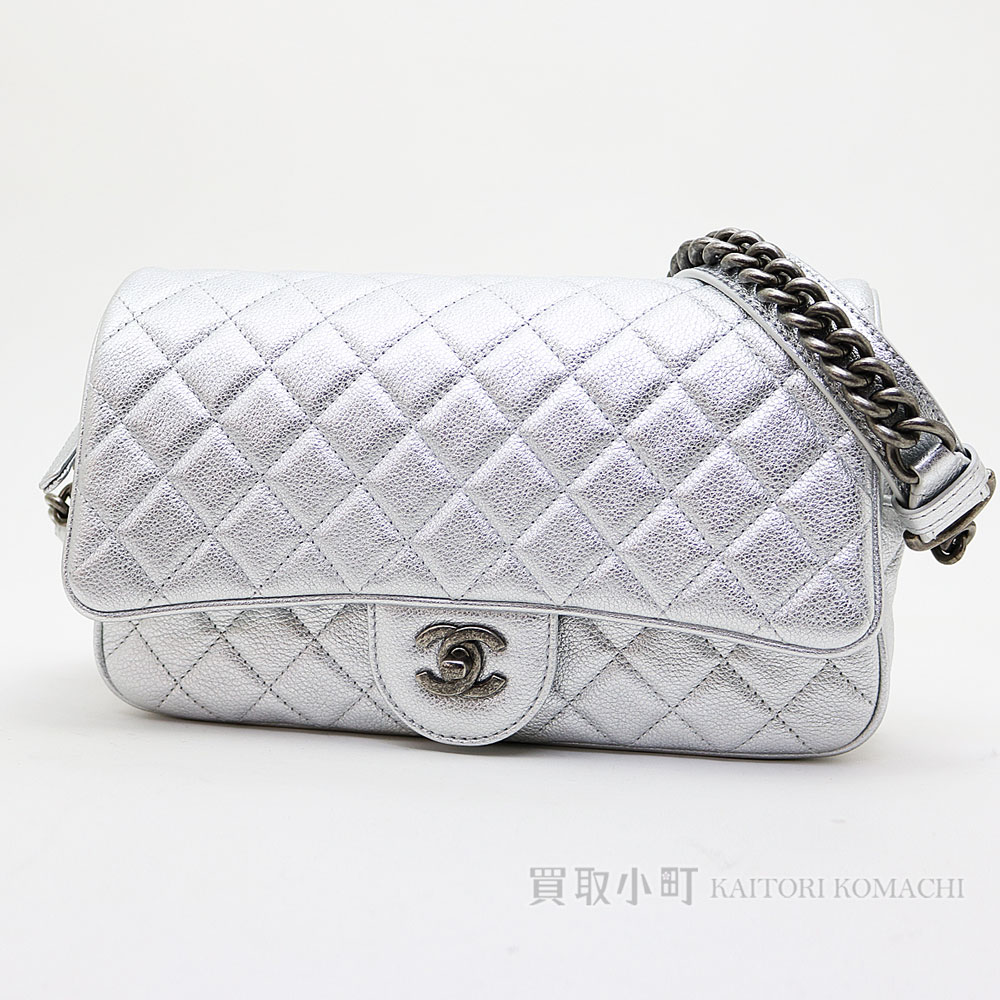 c58c92050c4d91 KAITORIKOMACHI: Chanel chain shoulder bag metallic grain leather matelasse  line quilting vintage-like metal fittings chain bag flap bag classical  music ...