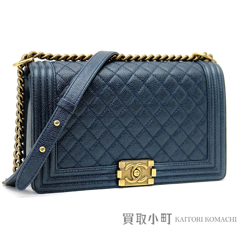 Chanel Boy Large Flap Bag Caviar Skin Navy Blue Chain Shoulder Quilting A92193 19