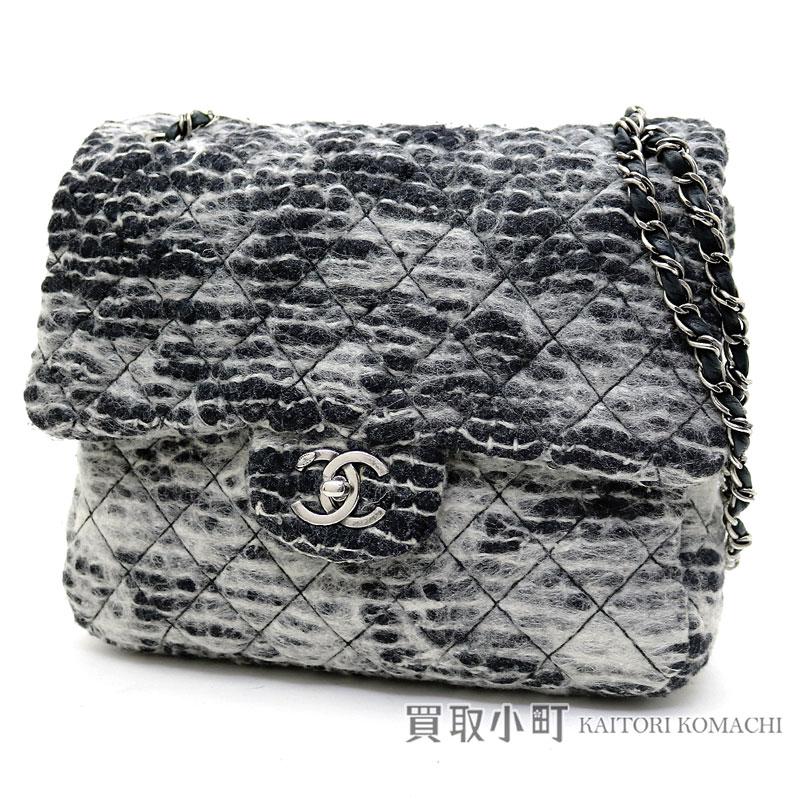 e1d4629ee5a9 Take Chanel W chain shoulder bag matelasse quilting black X gray wool CC  mark twist lock chain bag flap bag slant; A66340 #18 Chain Flap bag