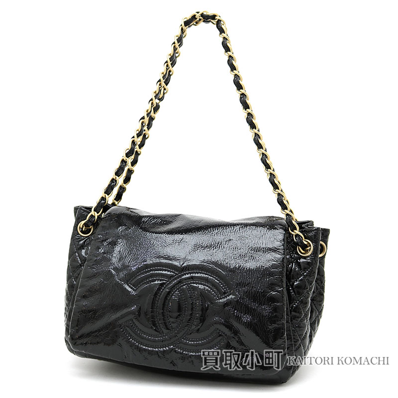 0e66f2a69f KAITORIKOMACHI: Take Chanel W chain shoulder bag black enamel here mark  stitch matelasse accordion bag flap bag chain bag slant; CC mark A35292 #11  FLAP BAG ...
