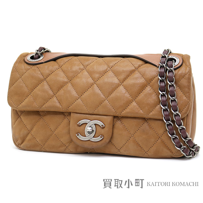 ae643bbada KAITORIKOMACHI: Take Chanel matelasse line W chain shoulder bag brown  metallic leather classical music easy carry flap bag here mark twist lock  slant; ...