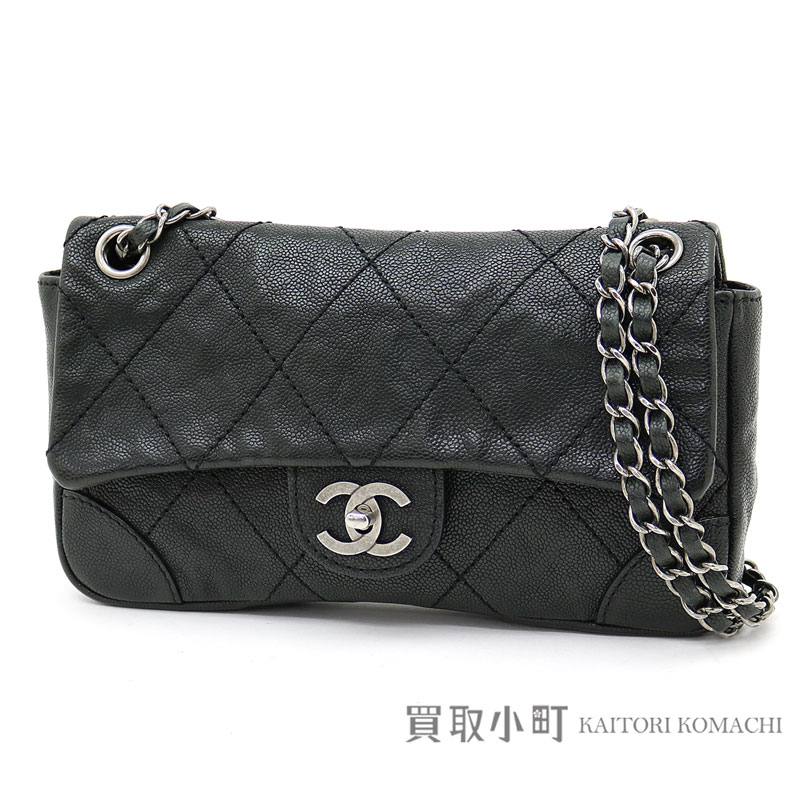 3f06adb8e8 Chanel quilting flap bag vintage caviar skin antique black classic  vintage-like silver metal fittings W chain shoulder bag chain bag matelasse  line #09 AGED ...