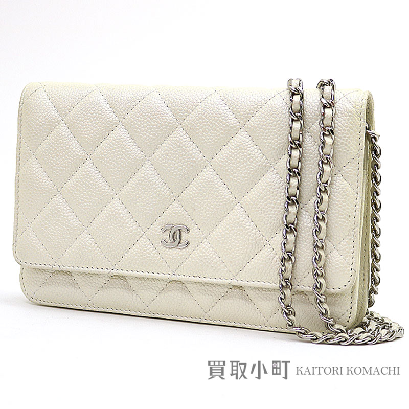 b41dcc331b7a Take Chanel matelasse line chain wallet pearl white caviar skin quilting  chain shoulder bag pochette clutch classical music wallet wallet slant  ...
