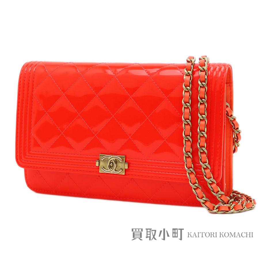 1bd334393534 KAITORIKOMACHI: Take Chanel boy Chanel chain wallet quilting orange CC mark  matelasse quilting chain shoulder bag pochette clutch wallet wallet slant;  ...