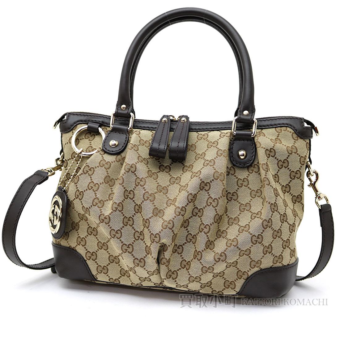 Take Gucci Sioux Key Original Gg Canvas Top Steering Wheel Bag Interlocking Grip G Charm Beige X Dark Brown Medium 2way Shoulder Slant Handbag Double