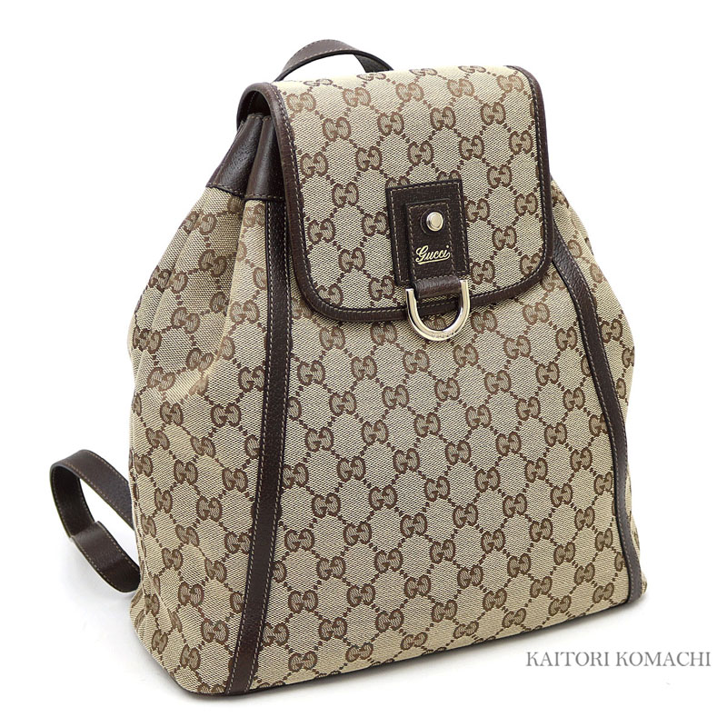 ff80741d0cee72 KAITORIKOMACHI: Gucci Abie GG canvas backpack Lady's beige X dark brown  rucksack double G D ring 141642 ABBEY BACKPACK | Rakuten Global Market