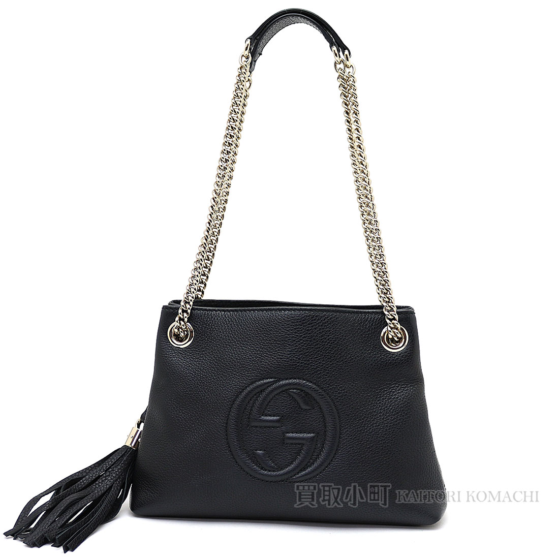 7796347adac Gucci Soho black leather chain shoulder bag tassel charm interlocking grip  G crossbody bag fringe 387043 A7M0G 1000 SOHO LEATHER BAG