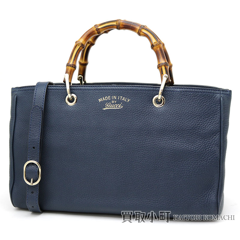 2b94dccd6be6 Gucci bamboo shopper medium size leather tote bag dark blue calfskin bamboo  steering wheel handbag 2WAY shoulder bag 323660 AH90G BAMBOO SHOPPER MEDIUM  TOTE