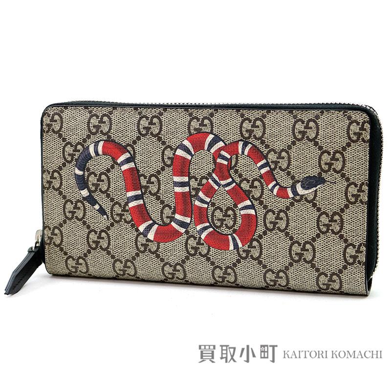96d9761b156 Gucci snake print GG スプリームキャンバスジップアラウンドウォレットラウンドファスナー long wallet wallet  tattoo +451