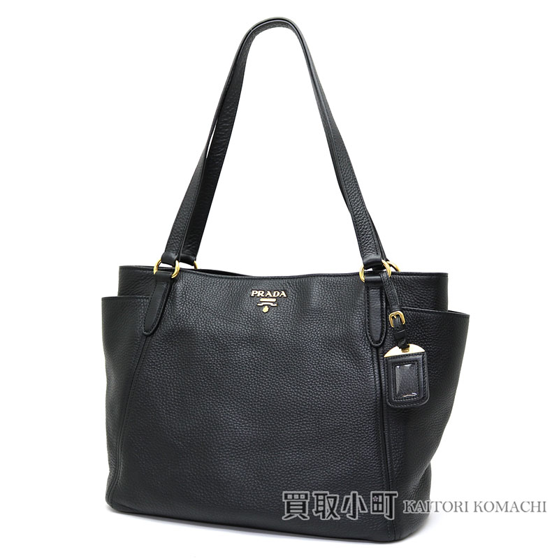 60423e54e07b Prada tote bag calfskin metal logo black leather shoulder bag handbag  BR4970 UWL F0002 TOTE BAG VIT.DAINO NERO