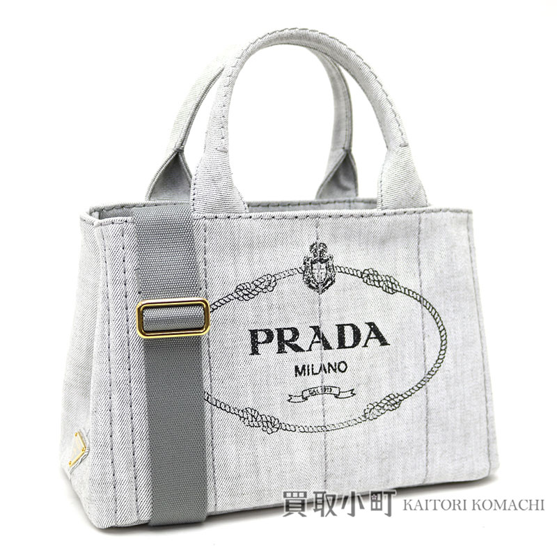 Prada Denim Tote Bag Small White Silkscreen Print Logo Triangle 2way ショルダーバッグハンドバッグカナパ 1bg439 Aj6 F0009 Bianco