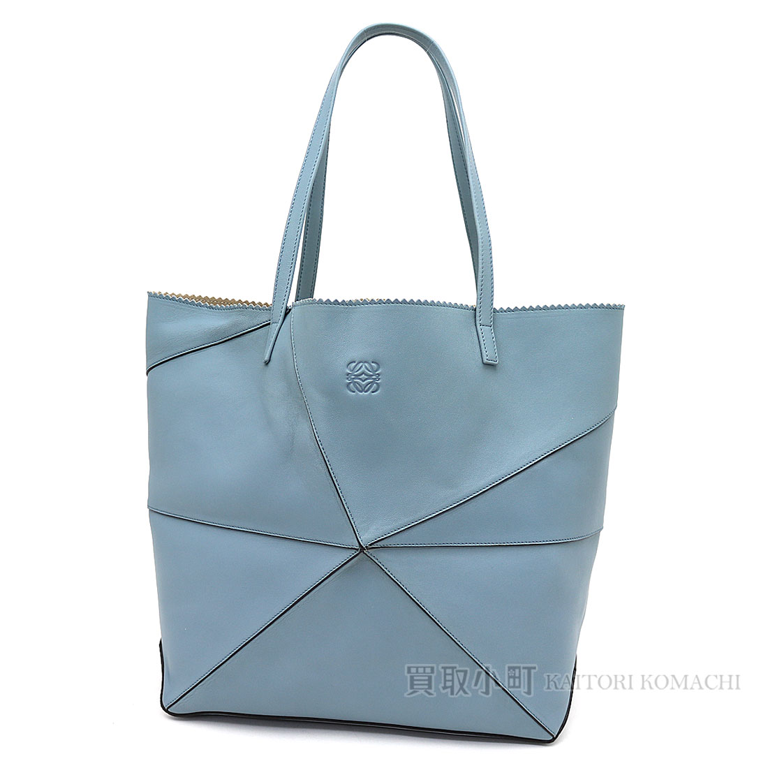 Loewe Origami Tote Bag Light Blue Sheepskin Shoulder Bag Shopping Bag Logogriph Emboss 39982 G98 Origami Tote Bag
