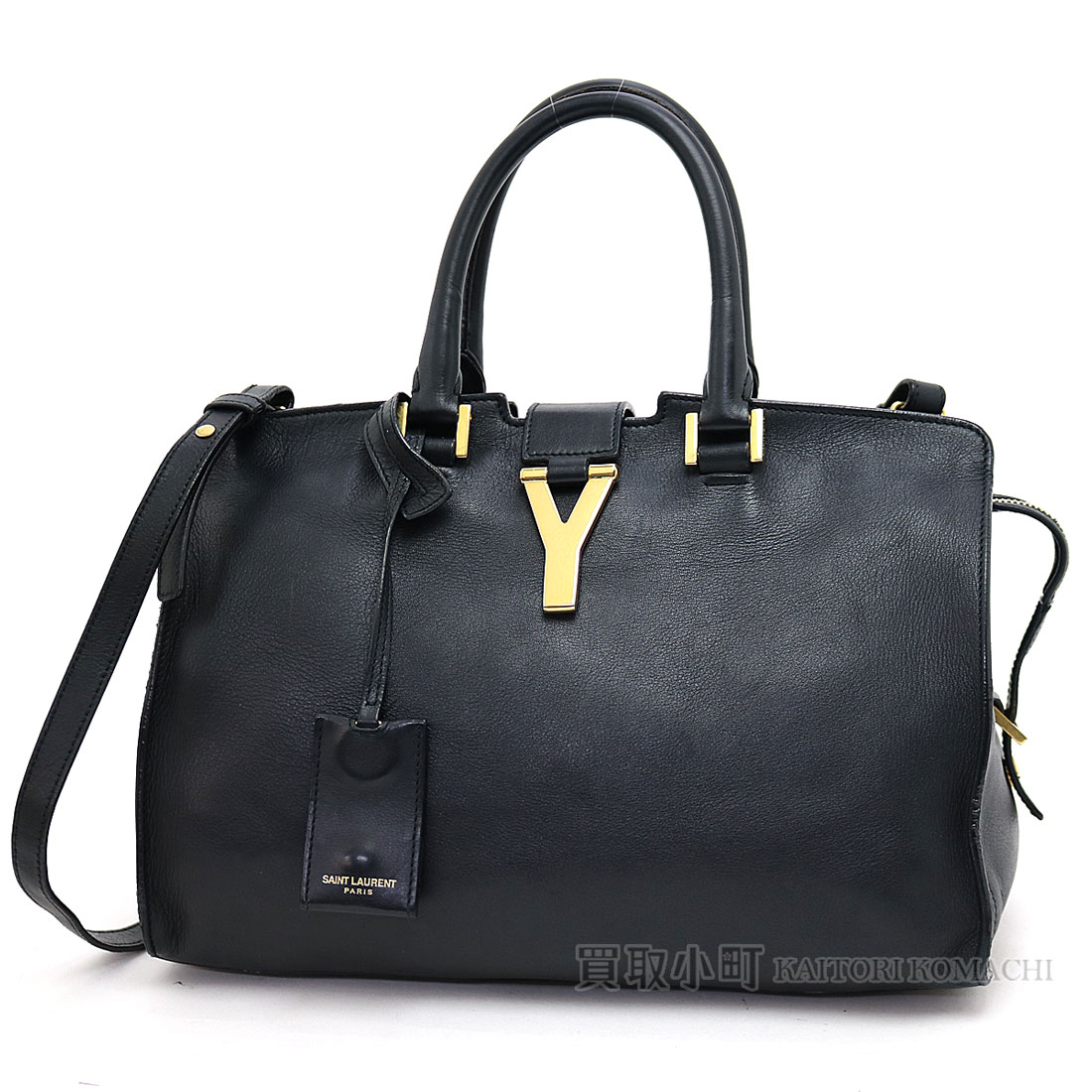 a2db874f4c80 311210 Yves Saint-Laurent classical music Y line hippopotamuses black  calfskin 2WAY shoulder bag tote bag Y line petit BJ50J 1000 LIGNE Y CABAS  LEATHER HAND ...
