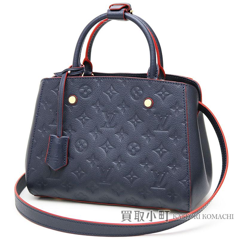 Take Louis Vuitton M42747 Montaigne BB monogram amplifier Lunt malines  rouge tote bag 2WAY shoulder bag slant  blue X レッドベベ LV MONTAIGNE BB  MONOGRAM ... 38872b2717630