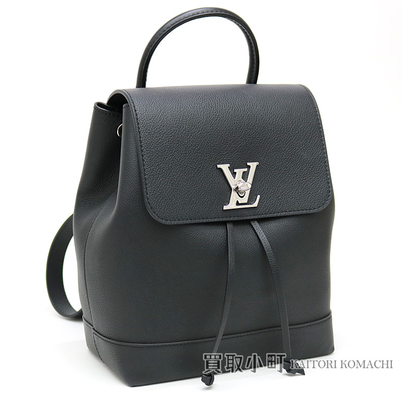 Louis Vuitton M41815 ロックミーバックパックノワールトリヨンレザー LV logo twist lock rucksack day  pack black leather calfskin LV LOCKME BACKPACK CUIR ... 9a535018ae163