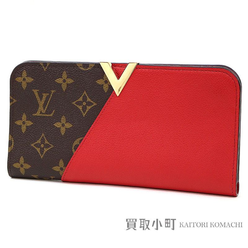 9d4752bf2421 Louis Vuitton M56174 Porto Foy Yuki monomonogram three calf-leather V  signature folio long wallet pochette clutch wallet cherry red LV Kimono  Wallet ...