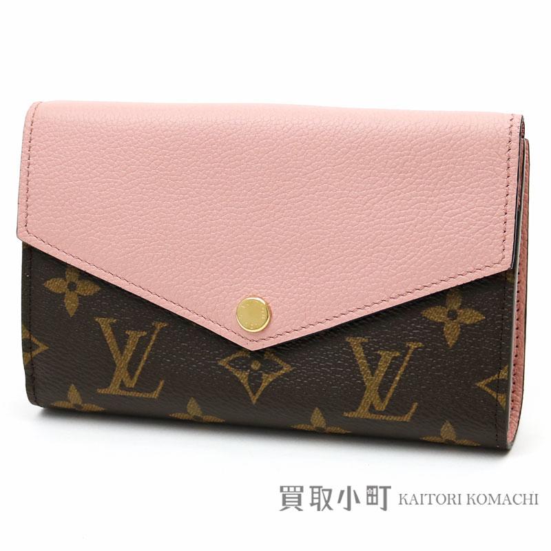 Louis Vuitton M64072 ポルトフォイユパラスコンパクトモノグラムローズバレリーヌカーフレザー W hook wallet flap  wallet wallet pink LV PALLAS COMPACT WALLET 74077ffdc2224