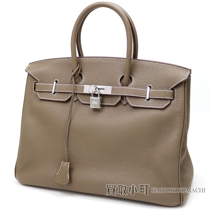 Hermes Birkin 35 エトゥープトリヨンクレマンスシルバー metal fittings icon handbag tote bag  Bronn 028496CK 18 SAC A MAIN BIRKIN35 ETOUPE TAURILLON CLEMENCE f2fd293621a