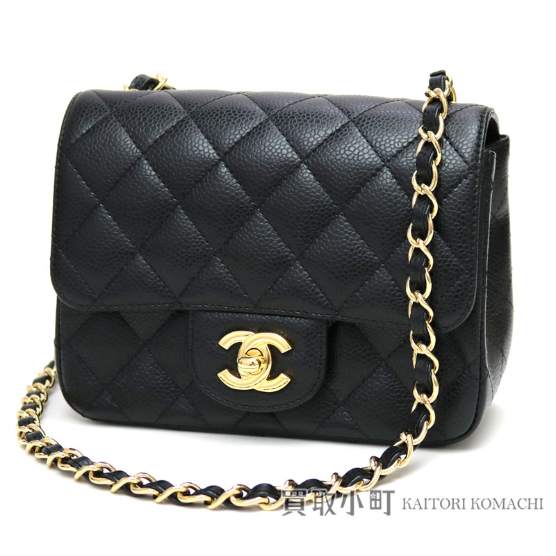 edab264864ff KAITORIKOMACHI: Take Chanel mini-matelasse caviar skin classical music flap bag  black gold metal fittings chain shoulder bag slant; here mark twist lock ...