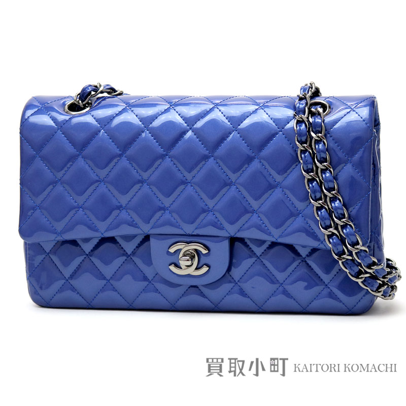 3c666458852a KAITORIKOMACHI: Chanel matelasse 25 classic flap bag blue patent leather  black metal fittings medium W chain shoulder bag constant seller チェーンバッグココ  ...