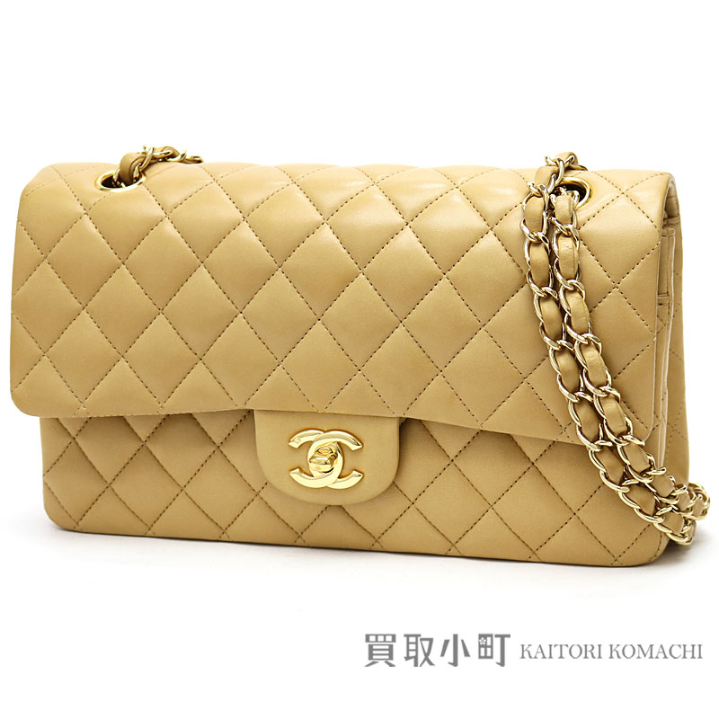 Chanel Matelasse 25 Classic Flap Bag Beige Lambskin Gold Metal Ings Medium W Chain Shoulder