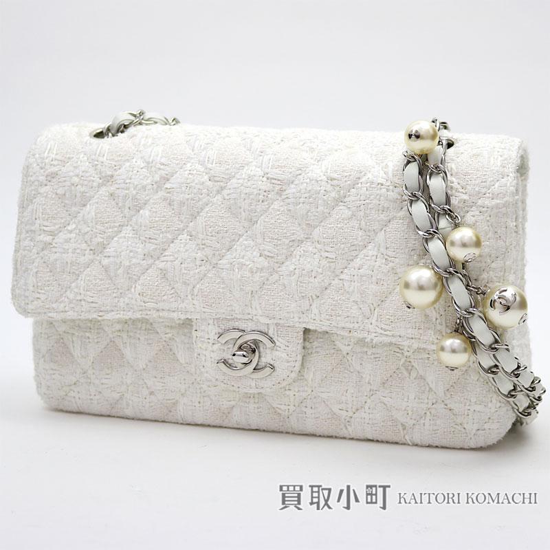 16568e2a67c57f KAITORIKOMACHI: Chanel Ginza limitation matelasse 25 Ede costume pearl flap  bag white W chain shoulder bag constant seller チェーンバッグココマークツイスト ...