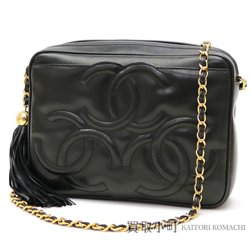 e1a874ad4f89 KAITORIKOMACHI: Chanel triple here mark stitch tassel charm chain shoulder  bag black lambskin CC stitch fringe classical music vintage A04632 #03  CLASSIC ...