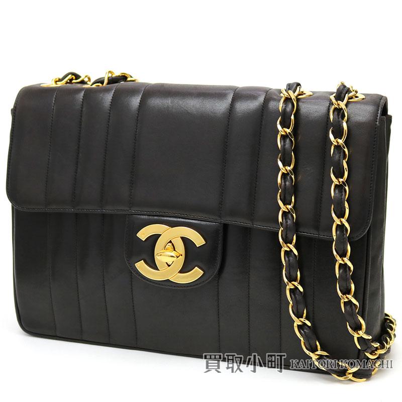 8b9cb94d2b1b Chanel W chain shoulder bag black lambskin mademoiselle 30 stripe matelasse  stitch quilting here mark twist lock chain bag flap bag vintage  03 FLAP BAG