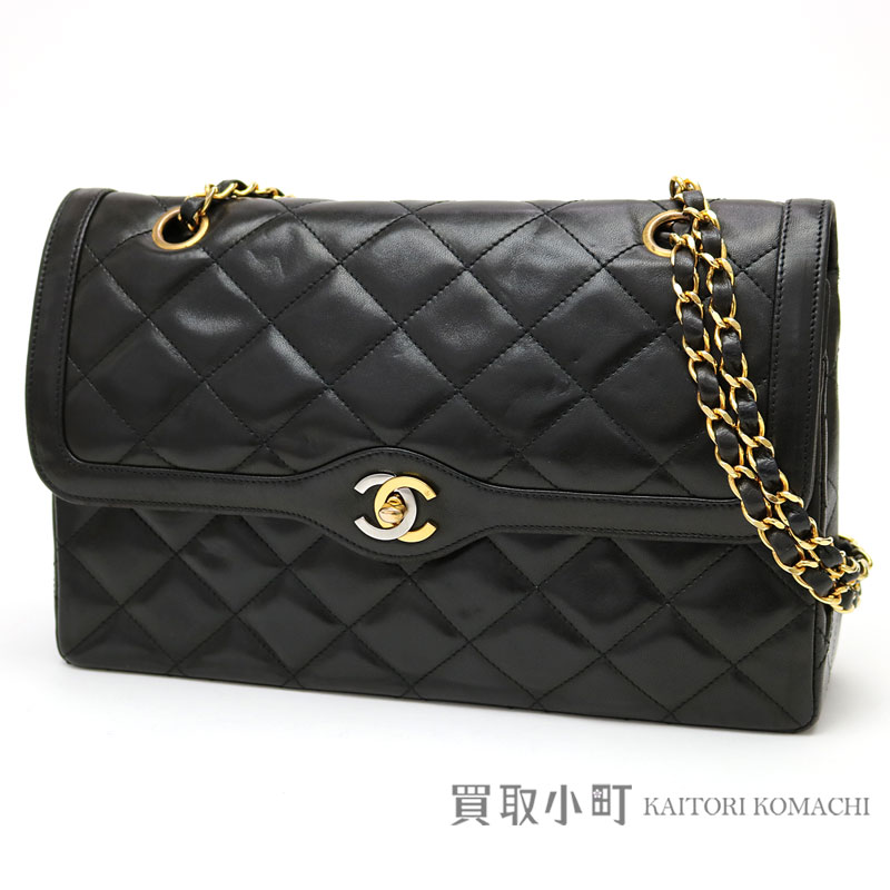 9e317b8e2846 Chanel matelasse flap bag black combination here mark twist lock lambskin  silver   gold metal fittings W chain shoulder bag chain bag double flap  classical ...