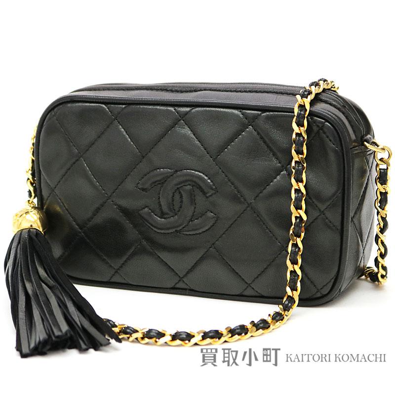dcbb9fd1290e56 KAITORIKOMACHI: Chanel mini-matelasse diamond stitch tassel charm chain shoulder  bag black lambskin quilting chain bag here mark stitch fringe classical ...