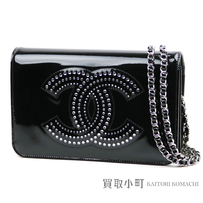 1f3e543d492e Take Chanel Storace CC chain wallet black patent leather here mark  rhinestone chain shoulder bag pochette clutch wallet wallet slant   13  A48115 STRASS CC ...