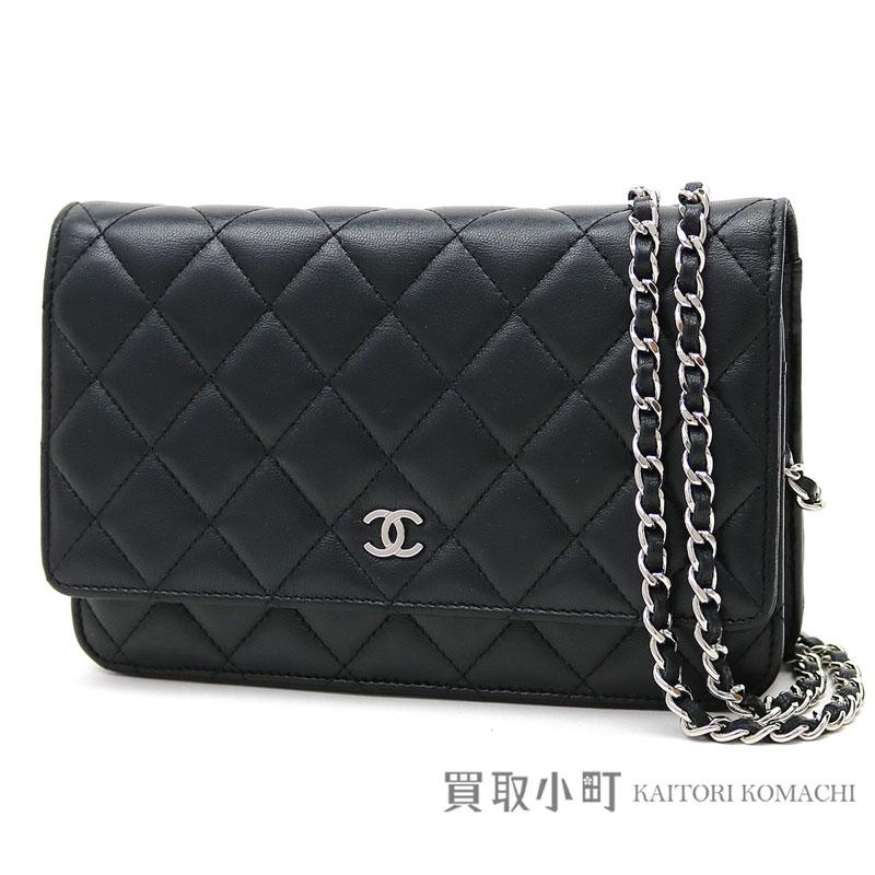 ecd26ad68e8ada Take Chanel matelasse chain wallet black lambskin silver metal fittings  classical music quilting chain shoulder bag ...