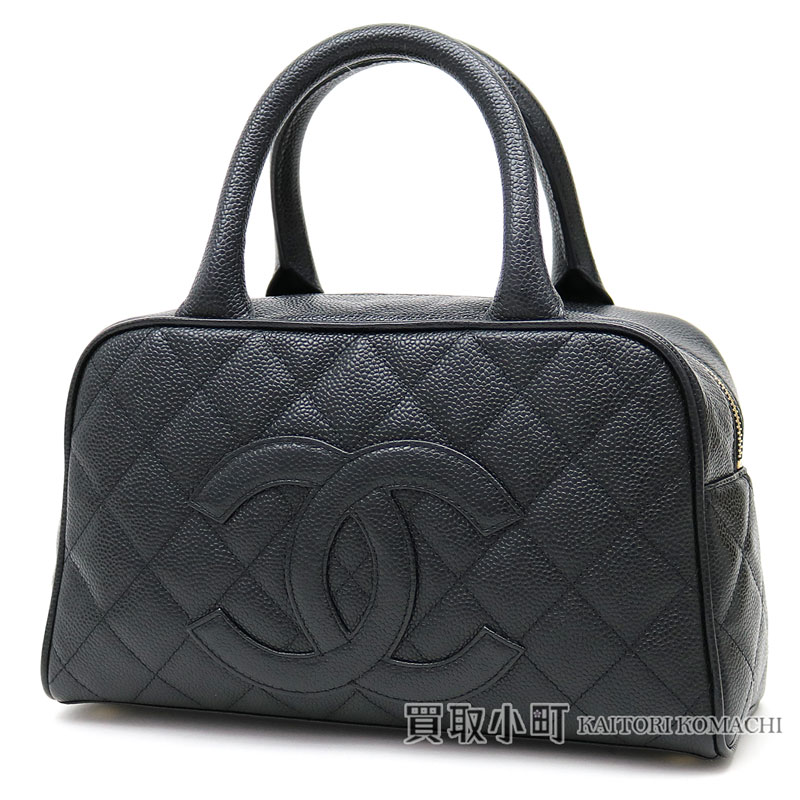 62d45428e74e6a KAITORIKOMACHI: Chanel caviar skin mini-Boston bag here mark black handbag  CC mark quilting classical music matelasse line black A20996 #08 CAVIARSKIN  ...