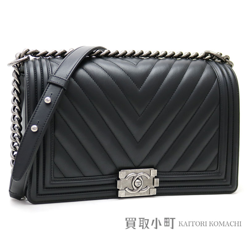 Chanel Boy Flap Bag Chevron Quilting Black Leather Large Chain Shoulder V Sch A92193 22