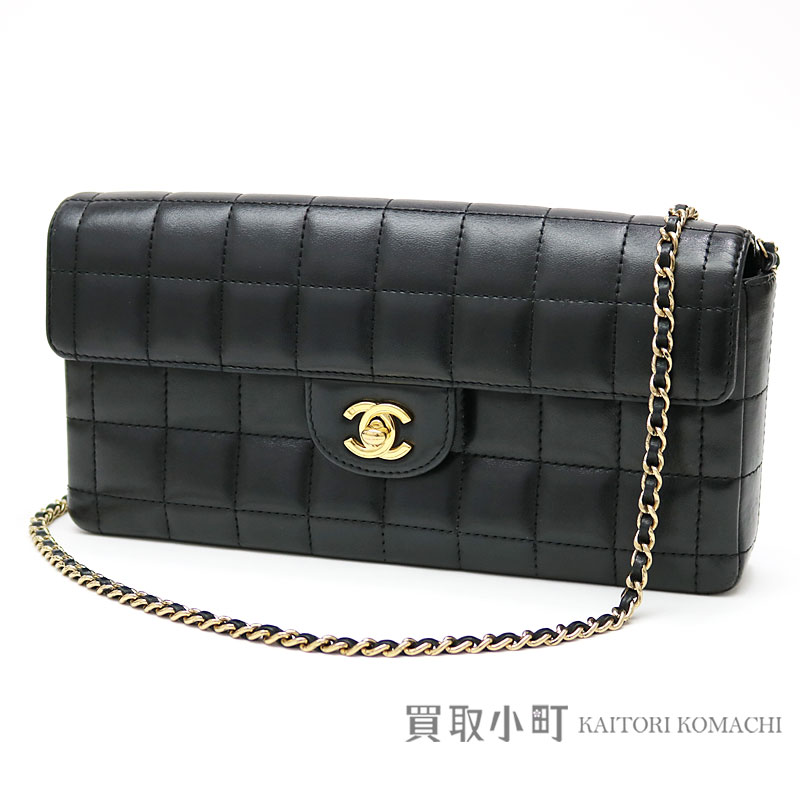 24a6aa67deac KAITORIKOMACHI: Chanel chocolate bar quilting chain shoulder bag black gold  metal fittings lambskin flap bag chain bag handbag clutch bag black A15316  #08 ...