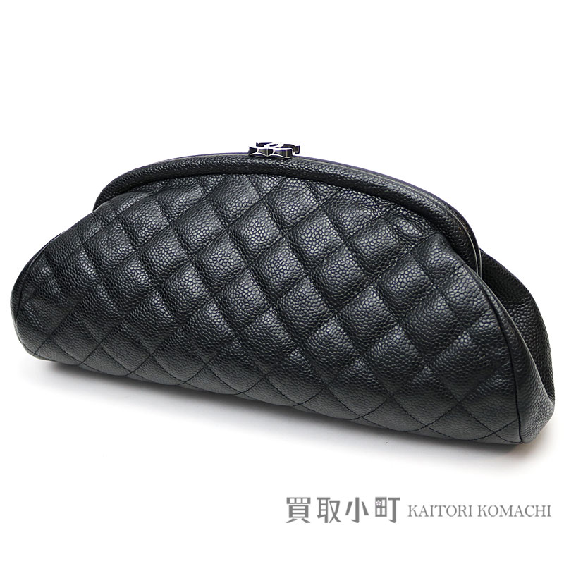 9f4178158ec169 Chanel caviar skin quilting clutch bag black silver metal fittings  matelasse pochette here mark thyme reply ...