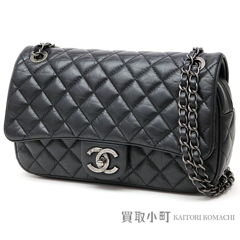 ced2fe1279c7 Take Chanel easy flap bag antique black calfskin classical music W chain  shoulder bag chain bag matelasse quilting slant  A93089 Y60274 94305  21  EASY FLAP ...