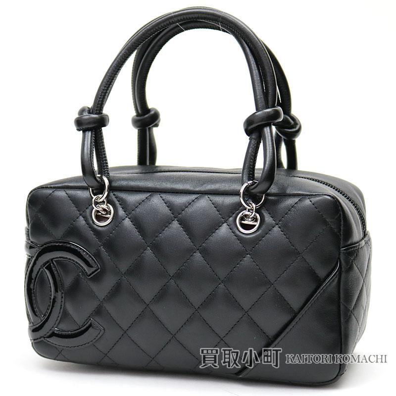 Chanel Cambon Line Mini Bowling Bag Signature Black Calfskin Enamel Here Mark Handbag Cc A29792 10 Logo