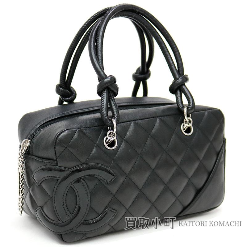4389f4c77f1543 KAITORIKOMACHI: Chanel Cambon line mini-bowling bag signature black  calfskin enamel here mark handbag CC mark A29792 #12 CAMBON MINI BOWLING BAG  CC LOGO ...