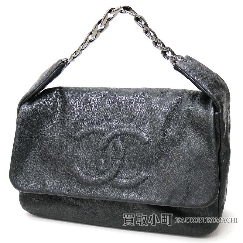 93b2a105d0ff Chanel here mark stitch chain shoulder bag black software caviar skin CC  mark chain bag flap Ho baud bag  13 CC LOGO CAVIARSKIN CHAIN BAG