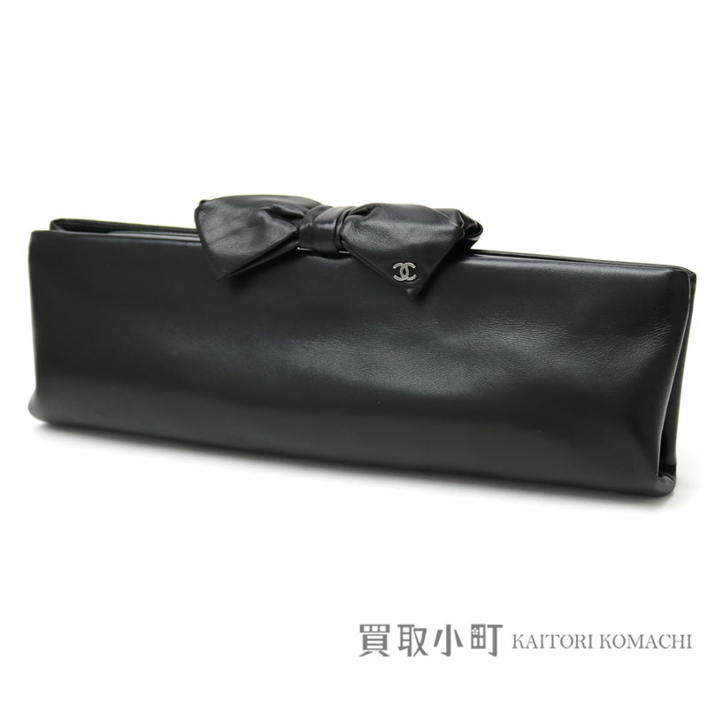 8e27be57d1bf Chanel ribbon clutch bag black lambskin silver metal fittings here mark  pouch #15 BOW CLUCH ...