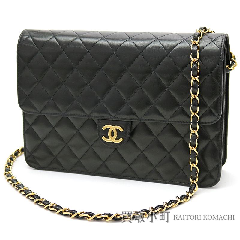 f063d3966ddc KAITORIKOMACHI: Chanel matelasse chain shoulder bag black lambskin  classical music here mark flap bag chain bag clutch bag quilting vintage  A03570 #05 ...