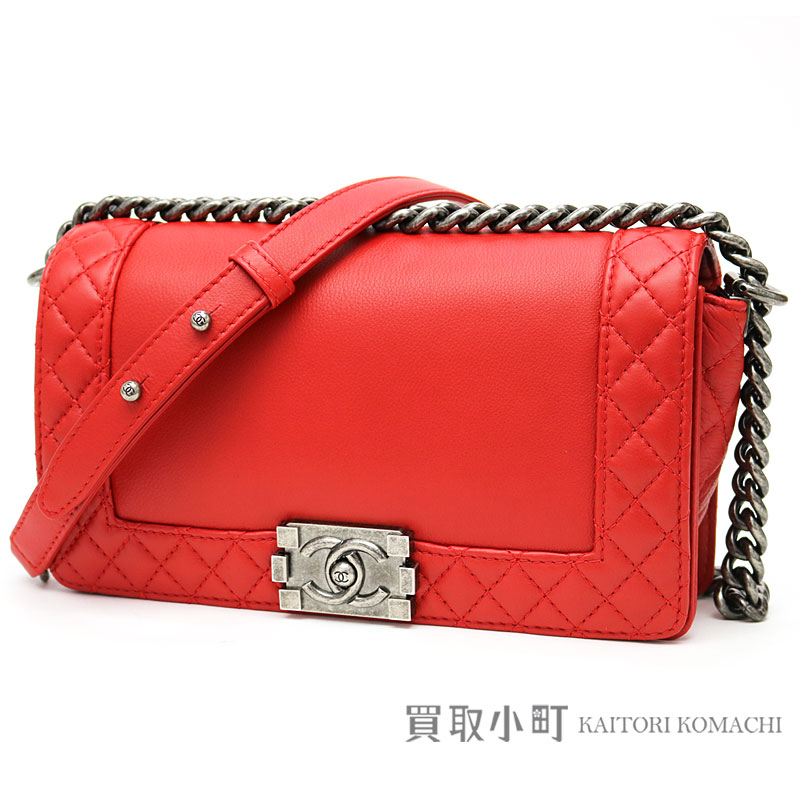 31e8d7945f36 KAITORIKOMACHI: Chanel boy Chanel flap bag red grain leather software calf  antique-like metal fittings medium chain shoulder bag chain bag A67948 #18  BOY ...