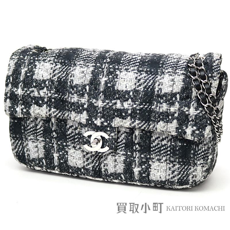 Chanel W chain shoulder bag tweed print nylon black silver metal fittings  chain bag handbag flap bag A66457  18 CHAIN FLAP BAG 27d0c19d59be3