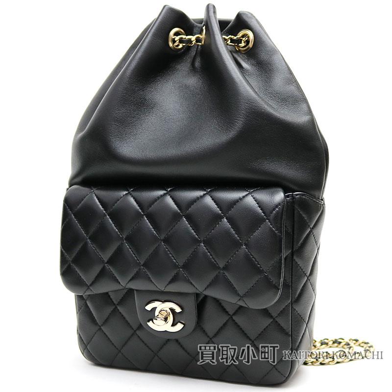 ec9e105b33f7 Chanel matelasse backpack black lambskin here mark twist lock flap chain  rucksack draw string classical music ...